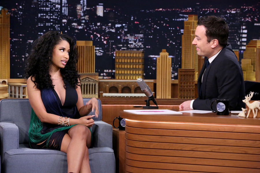 Nicki Minaj flaunts her sensational figure in leather bra and sheer bodysuit