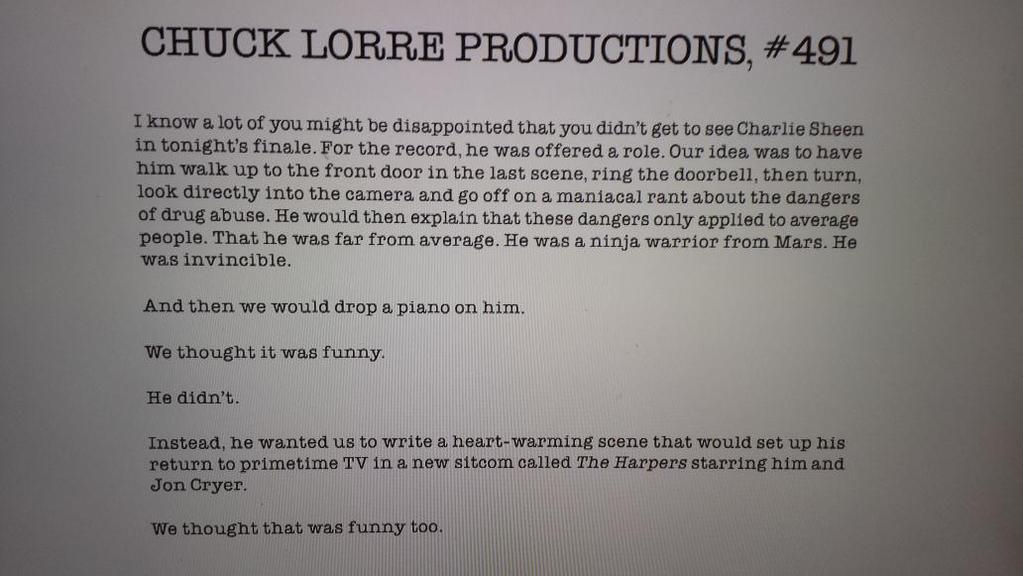 Chuck Lorre Vanity Card Explains Charlie Sheen S Absence