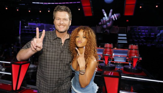 """Rihanna Joins Coaches Adam, Gwen, Pharrell and Blake in New """"The Voice"""" Look"""