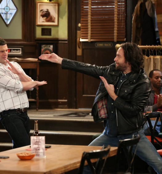 "UNDATEABLE -- ""A Rock and a Hard Place Walk Into a Bar"" Episode 303 -- Pictured: (l-r) Brent Morin as Justin, Chris D'Elia as Danny -- (Photo by: Michael Yarish/NBC)"