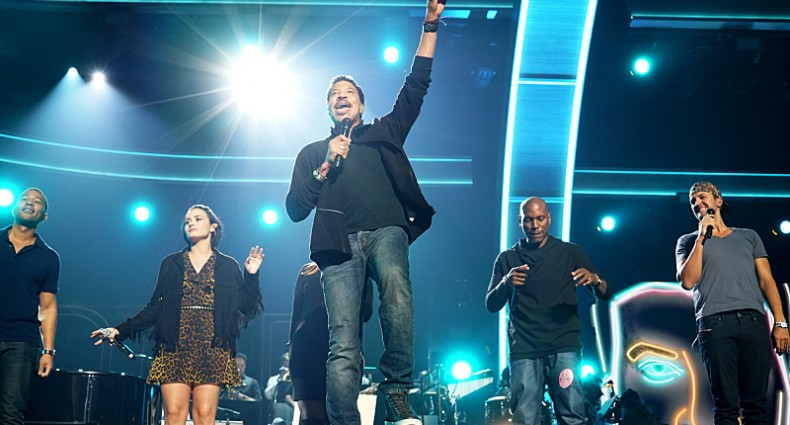 John Legend, Demi Lovato, Meghan Trainor, Lionel Richie, Tyrese Gibson, and Luke Bryan during rehearsal for The 58TH ANNUAL GRAMMY AWARDS, to be held on Monday, Feb. 15, 2016 (8:00-11:30 PM, live ET) at STAPLES Center in Los Angeles and broadcast on the CBS Television Network. Photo: Timothy Kuratek/CBS ©2016 CBS Broadcasting, Inc. All Rights Reserved