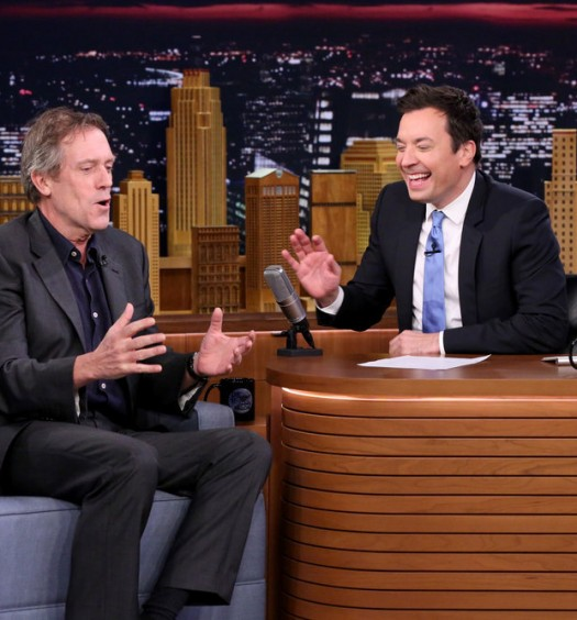 THE TONIGHT SHOW STARRING JIMMY FALLON -- Episode 0455 -- Pictured: (l-r) Actor Hugh Laurie during an interview with host Jimmy Fallon on April 14, 2016 -- (Photo by: Andrew Lipovsky/NBC)