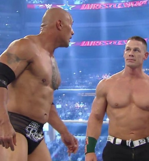 The Rock John Cena [Official WWE Twitter Image]