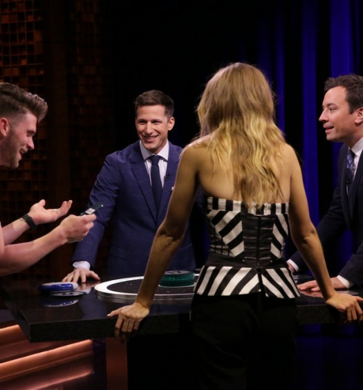 THE TONIGHT SHOW STARRING JIMMY FALLON -- Episode 0472 -- Pictured: (l-r) Baseball player Bryce Harper, Actor Andy Samberg, model Gigi Hadid, and host Jimmy Fallon play Catchphrase on May 16, 2016 -- (Photo by: Andrew Lipovsky/NBC)