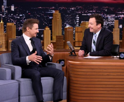 THE TONIGHT SHOW STARRING JIMMY FALLON -- Episode 0464 -- Pictured: (l-r) Actor Jeremy Renner during an interview with host Jimmy Fallon on May 4, 2016 -- (Photo by: Andrew Lipovsky/NBC)