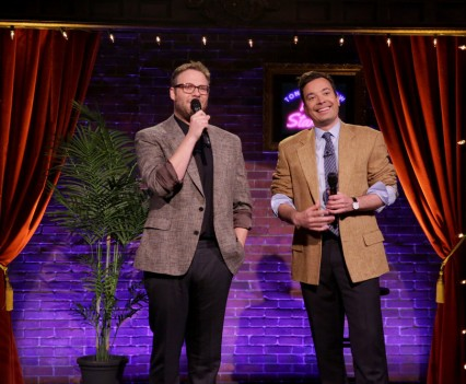THE TONIGHT SHOW STARRING JIMMY FALLON -- Episode 0475 -- Pictured: (l-r) Actor Seth Rogen and host Jimmy Fallon perform Kid Stand-Up on May 19, 2016 -- (Photo by: Andrew Lipovsky/NBC)