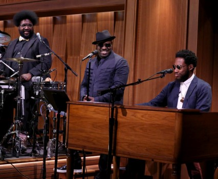 "THE TONIGHT SHOW STARRING JIMMY FALLON -- Episode 0507 -- Pictured: (l-r) Ahmir ""Questlove"" Thompson and Tariq ""Black Thought"" Trotter of The Roots perform with musician Cory Henry on July 25, 2016 -- (Photo by: Andrew Lipovsky/NBC)"