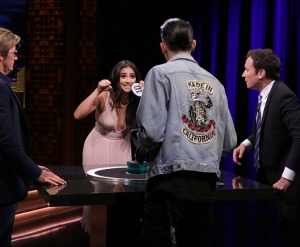 "THE TONIGHT SHOW STARRING JIMMY FALLON -- Episode 0507 -- Pictured: (l-r) Actor Denis Leary, actress Shay Mitchell, Rapper G-Eazy, and host Jimmy Fallon play ""Catchphrase"" on July 25, 2016 -- (Photo by: Andrew Lipovsky/NBC)"