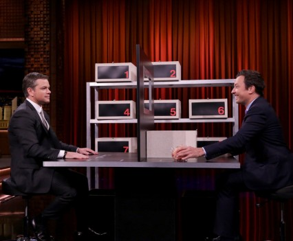 "THE TONIGHT SHOW STARRING JIMMY FALLON -- Episode 0509 -- Pictured: (l-r) Actor Matt Damon plays ""Box of Lies"" with host Jimmy Fallon on July 27, 2016 -- (Photo by: Andrew Lipovsky/NBC)"