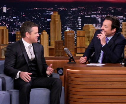 THE TONIGHT SHOW STARRING JIMMY FALLON -- Episode 0509 -- Pictured: (l-r) Actor Matt Damon during an interview with host Jimmy Fallon on July 27, 2016 -- (Photo by: Andrew Lipovsky/NBC)