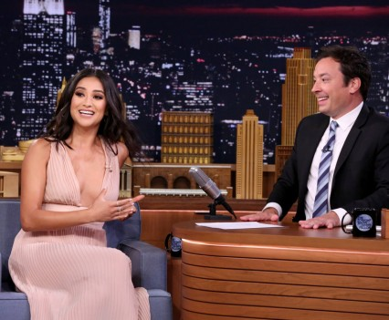 THE TONIGHT SHOW STARRING JIMMY FALLON -- Episode 0507 -- Pictured: (l-r) Actress Shay Mitchell during an interview with host Jimmy Fallon on July 25, 2016 -- (Photo by: Andrew Lipovsky/NBC)