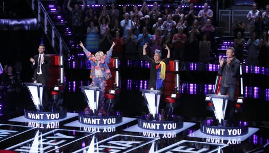 "First Look: Miley Cyrus, Alicia Keys Join Blake & Adam On NBC's ""The Voice"""