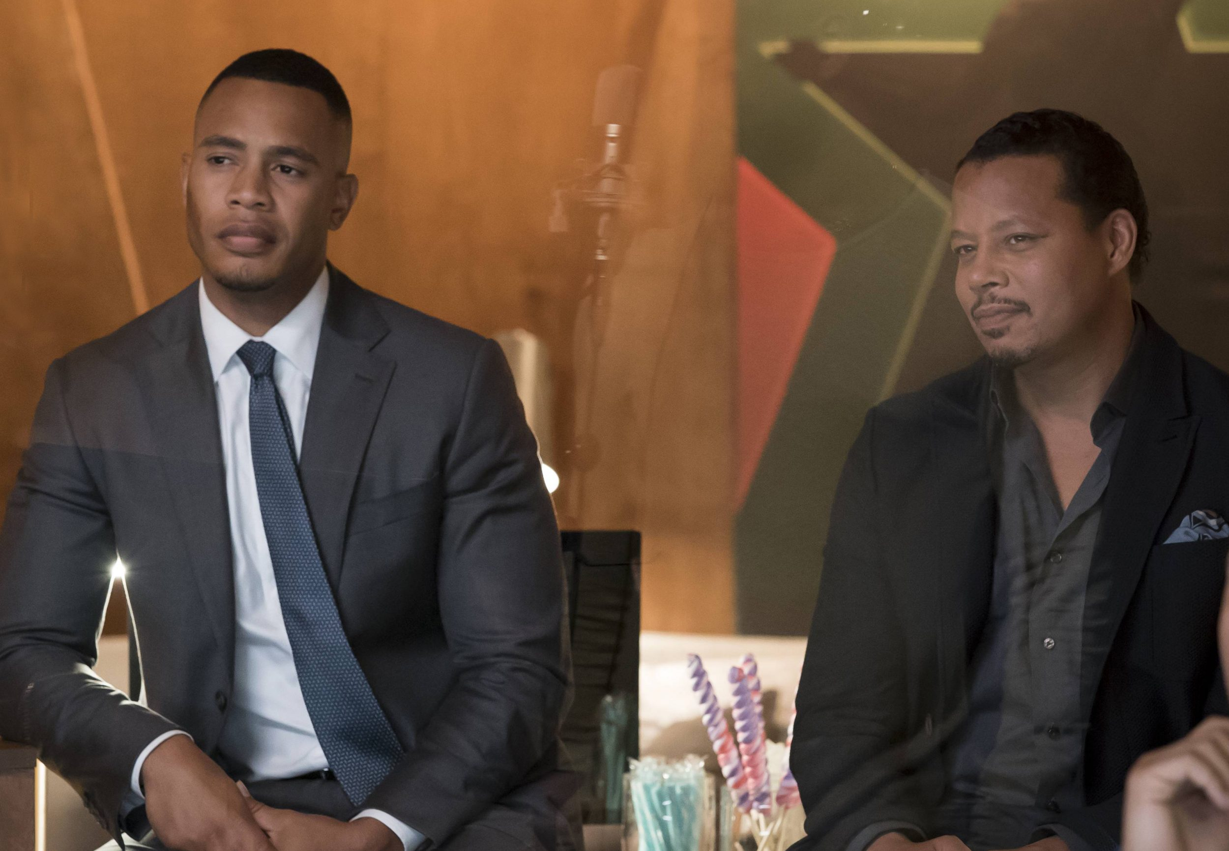 """EMPIRE: Pictured L-R: Trai Byers and Terrence Howard in the """"What Remains is Bestial"""" episode of EMPIRE airing Wednesday, Oct. 5 (9:00-10:00 PM ET/PT) on FOX. ©2016 Fox Broadcasting Co. CR: Chuck Hodes/FOX"""