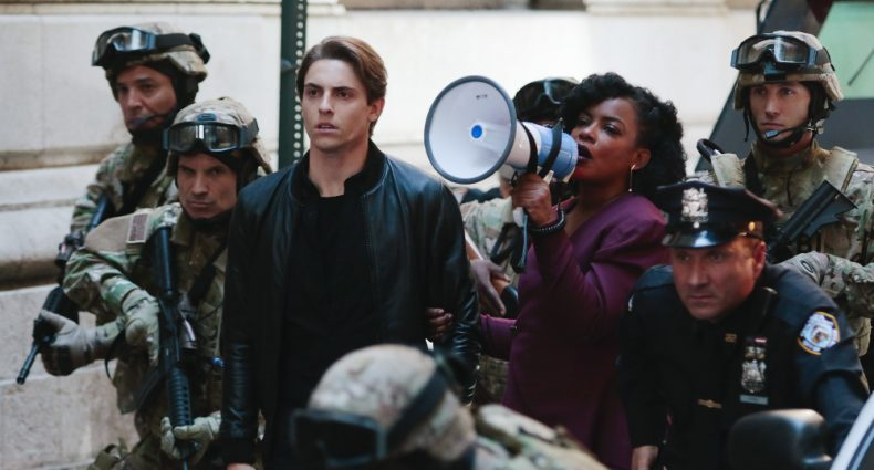 """QUANTICO - """"Kubark"""" - The trainees are put through a training drill that tests their stress levels while Alex tries to gather information and get close to Owen. Meanwhile, in the future, the terrorist organization demands a trade, a move that could possibly end the stand-off, on """"Quantico,"""" airing SUNDAY, OCTOBER 23 (10:00-11:00 p.m. EDT), on the ABC Television Network. (ABC/Giovanni Rufino)DEREK KLENA, AUNJANUE ELLIS, BENJAMIN JONES"""