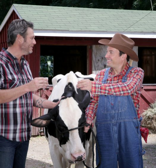"THE TONIGHT SHOW STARRING JIMMY FALLON -- Episode 0551 -- Pictured: (l-r) Singer Blake Shelton and host Jimmy Fallon during the ""Milk a Cow"" sketch on October 10, 2016 -- (Photo by: Andrew Lipovsky/NBC)"