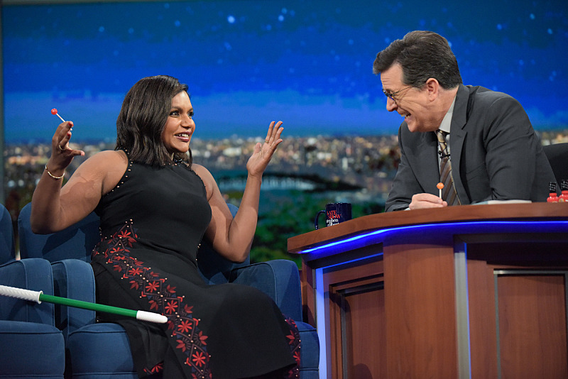 Image result for mindy kaling stephen colbert