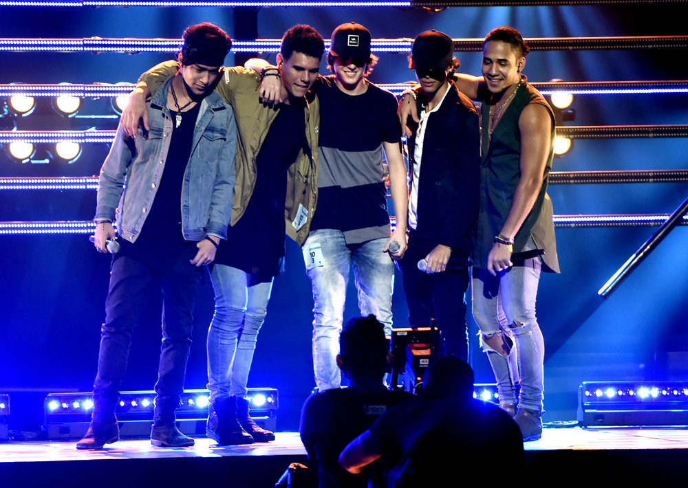 """2016 LATIN AMERICAN MUSIC AWARDS -- """"Rehearsal"""" -- Pictured: Musical group CNCO rehearse for the 2016 Latin American Music Awards at the Dolby Theater in Los Angeles, CA on October 3, 2016 -- (Photo by: Alberto Rodriguez/Telemundo)"""