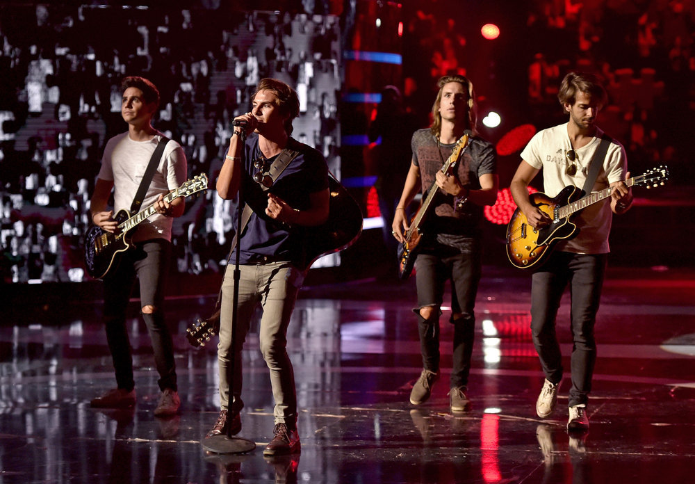"""2016 LATIN AMERICAN MUSIC AWARDS -- """"Rehearsal"""" -- Pictured: Musical group Dvicio rehearse for the 2016 Latin American Music Awards at the Dolby Theater in Los Angeles, CA on October 3, 2016 -- (Photo by: Alberto Rodriguez/Telemundo)"""