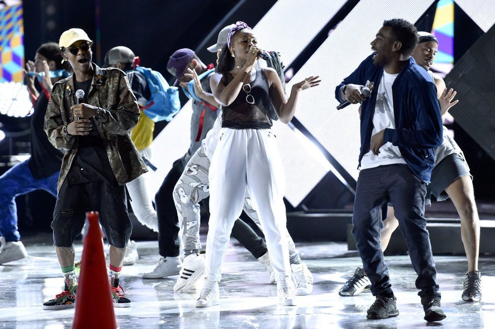 """2016 LATIN AMERICAN MUSIC AWARDS -- """"Rehearsal"""" -- Pictured: (l-r) Recording artists Slow, Goyo, and Tostao of ChocQuibTown rehearse for the 2016 Latin American Music Awards at the Dolby Theater in Los Angeles, CA on October 4, 2016 -- (Photo by: Alberto Rodriguez/Telemundo)"""