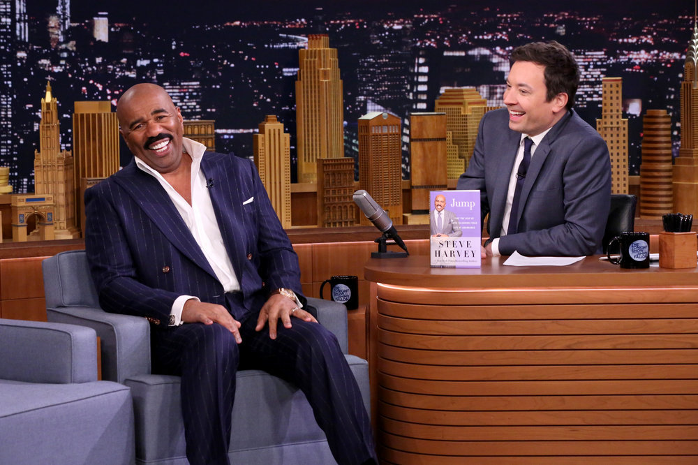 THE TONIGHT SHOW STARRING JIMMY FALLON -- Episode 0584 -- Pictured: (l-r) Television personality Steve Harvey during an interview with host Jimmy Fallon on December 05, 2016 -- (Photo by: Andrew Lipovsky/NBC)
