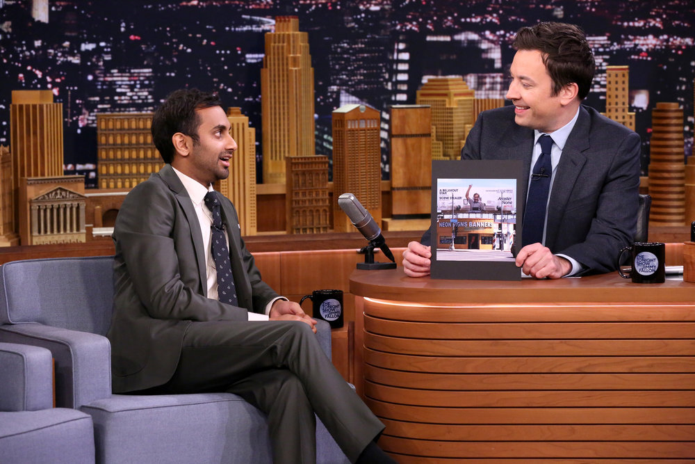 THE TONIGHT SHOW STARRING JIMMY FALLON -- Episode 0606 -- Pictured: (l-r) Comedian Aziz Ansari during an interview with host Jimmy Fallon on January 19, 2017 -- (Photo by: Andrew Lipovsky/NBC)