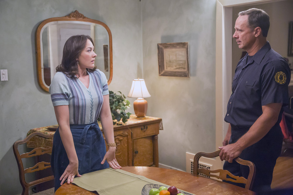 "THIS IS US -- ""The Big Day"" Episode 112 -- Pictured: (l-r) Virginia Kull as Samantha, Brian Oblak as Joe -- (Photo by: Ron Batzdorff/NBC)"