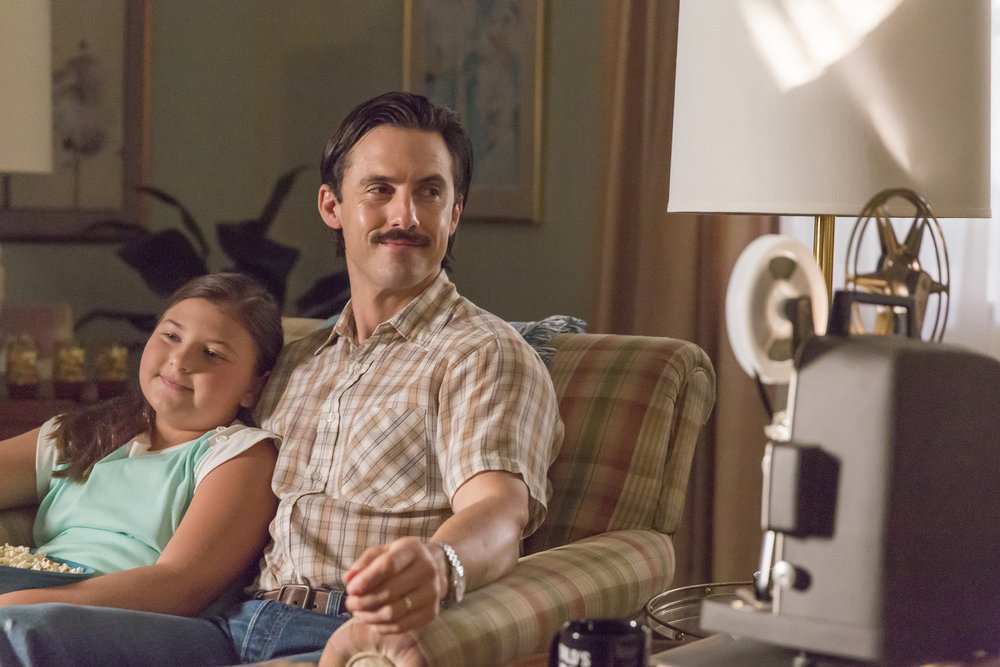 "THIS IS US -- ""The Big Day"" Episode 112 -- Pictured: (l-r) Mackenzie Hancsicsak as Kate, Milo Ventimiglia as Jack -- (Photo by: Ron Batzdorff/NBC)"
