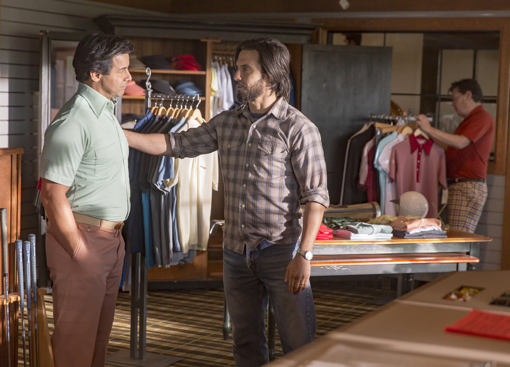 "THIS IS US -- ""The Big Day"" Episode 112 -- Pictured: (l-r) John Huertas as Miguel, Milo Ventimiglia as Jack -- (Photo by: Ron Batzdorff/NBC)"