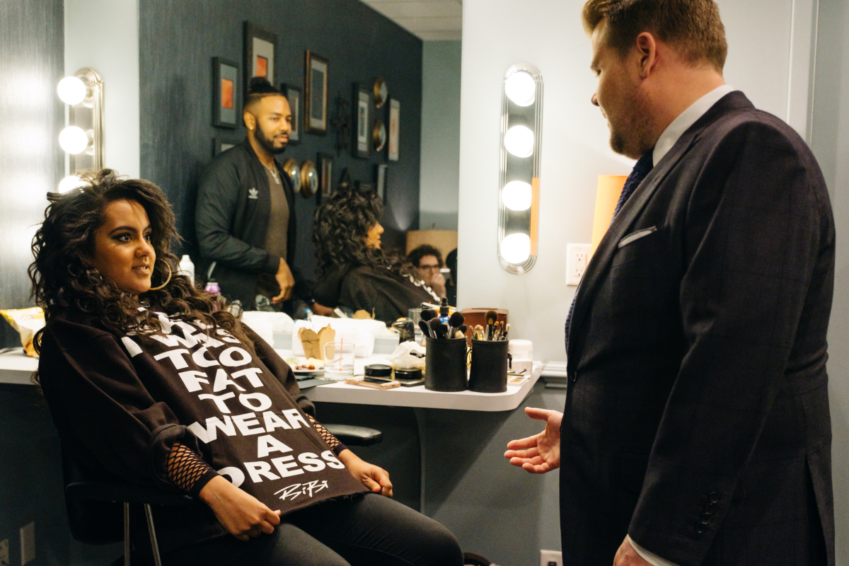 "Bibi Bourelly chats in the green room with James Corden during ""The Late Late Show with James Corden,"" Thursday, February 16, 2017 (12:35 PM-1:37 AM ET/PT) On The CBS Television Network. Photo: Terence Patrick/CBS ©2017 CBS Broadcasting, Inc. All Rights Reserved"