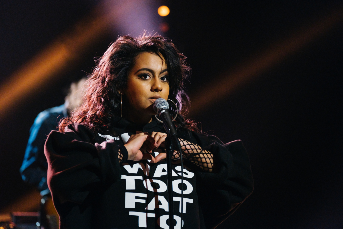 "Bibi Bourelly performs during ""The Late Late Show with James Corden,"" Thursday, February 16, 2017 (12:35 PM-1:37 AM ET/PT) On The CBS Television Network. Photo: Terence Patrick/CBS ©2017 CBS Broadcasting, Inc. All Rights Reserved"