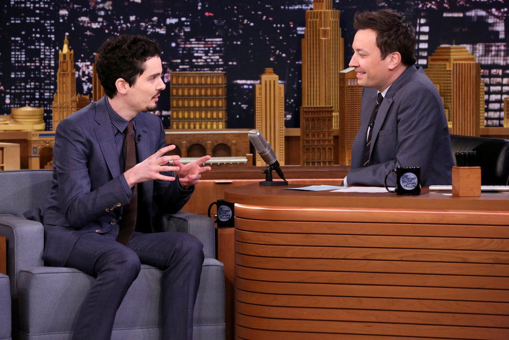 THE TONIGHT SHOW STARRING JIMMY FALLON -- Episode 0625 -- Pictured: (l-r) Director Damien Chazelle during an interview with host Jimmy Fallon on February 15, 2017 -- (Photo by: Andrew Lipovsky/NBC)