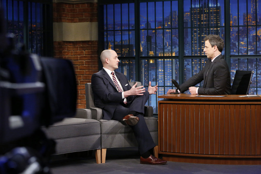 LATE NIGHT WITH SETH MEYERS -- Episode 489 -- Pictured: (l-r) Former CIA operations officer Evan McMullin during an interview with host Seth Meyers on February 14, 2017 -- (Photo by: Lloyd Bishop/NBC)