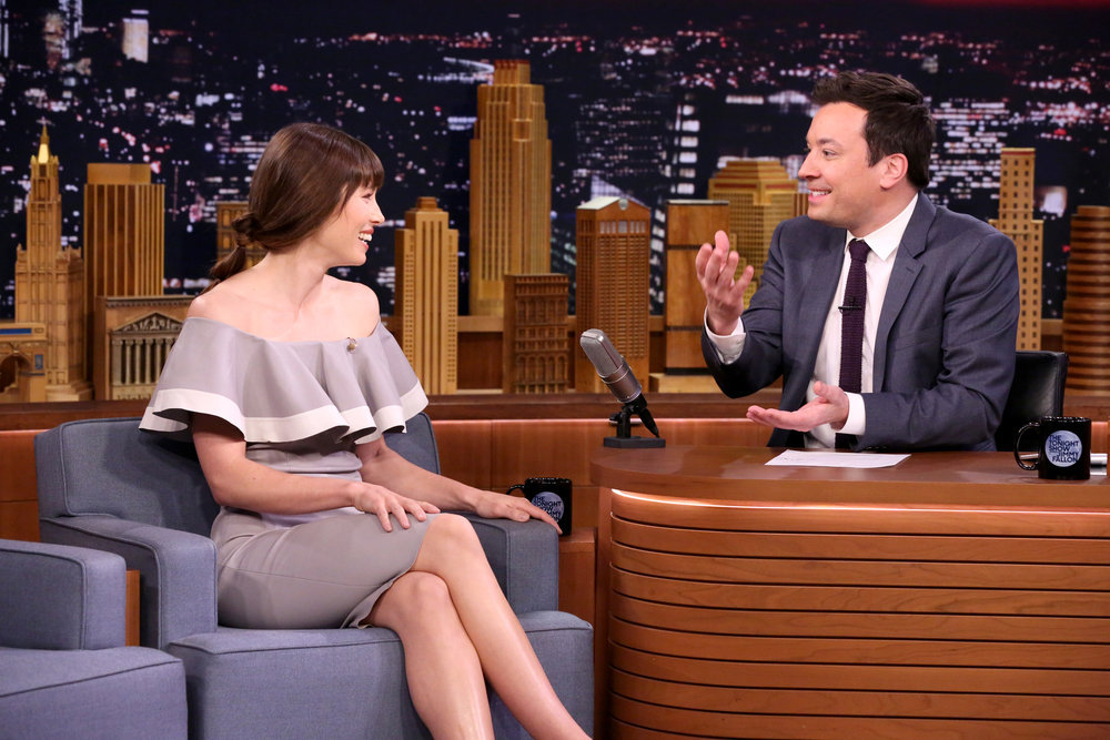 THE TONIGHT SHOW STARRING JIMMY FALLON -- Episode 0626 -- Pictured: (l-r) Actress Jessica Biel during an interview with host Jimmy Fallon on February 16, 2017 -- (Photo by: Andrew Lipovsky/NBC)