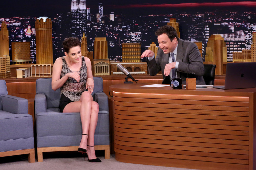 THE TONIGHT SHOW STARRING JIMMY FALLON -- Episode 0616 -- Pictured: (l-r) Actress Kristen Stewart during an interview with host Jimmy Fallon on February 2, 2017 -- (Photo by: Andrew Lipovsky/NBC)