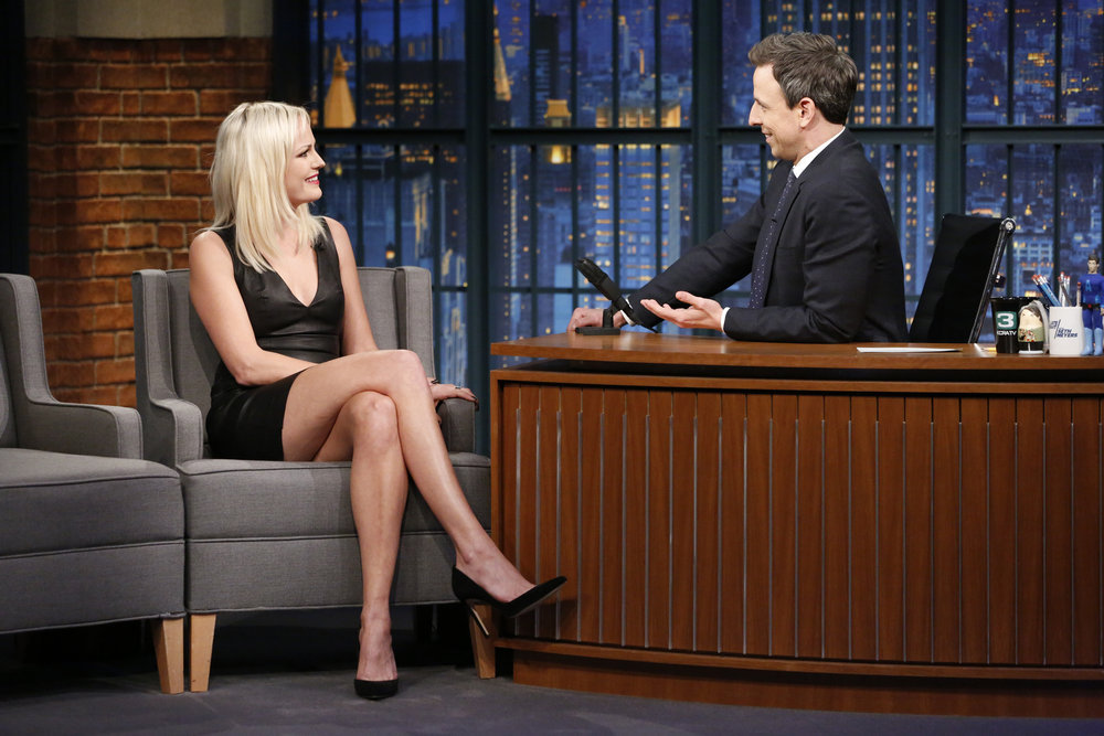 LATE NIGHT WITH SETH MEYERS -- Episode 491 -- Pictured: (l-r) Actress Malin Akerman during an interview with host Seth Meyers on February 16, 2017 -- (Photo by: Lloyd Bishop/NBC)