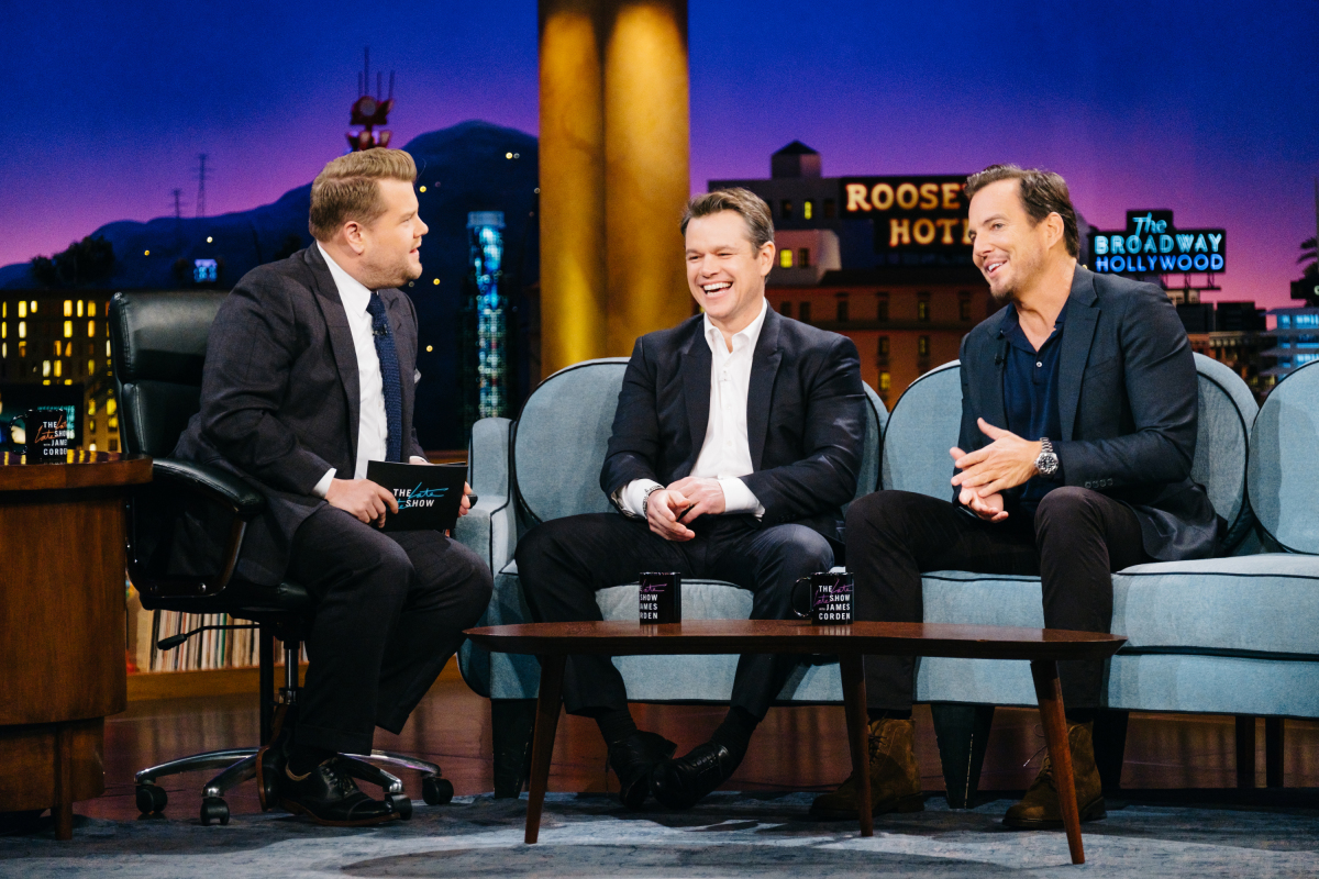 "Matt Damon and Will Arnett chat with James Corden during ""The Late Late Show with James Corden,"" Thursday, February 16, 2017 (12:35 PM-1:37 AM ET/PT) On The CBS Television Network. Photo: Terence Patrick/CBS ©2017 CBS Broadcasting, Inc. All Rights Reserved"