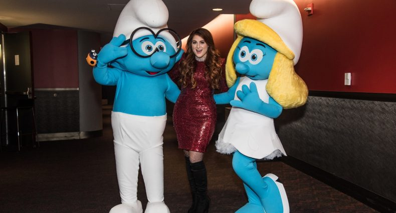 Brainy, Trainor & Smurfette Backstage at a Jingle Ball Show [Sony Pictures Photo]