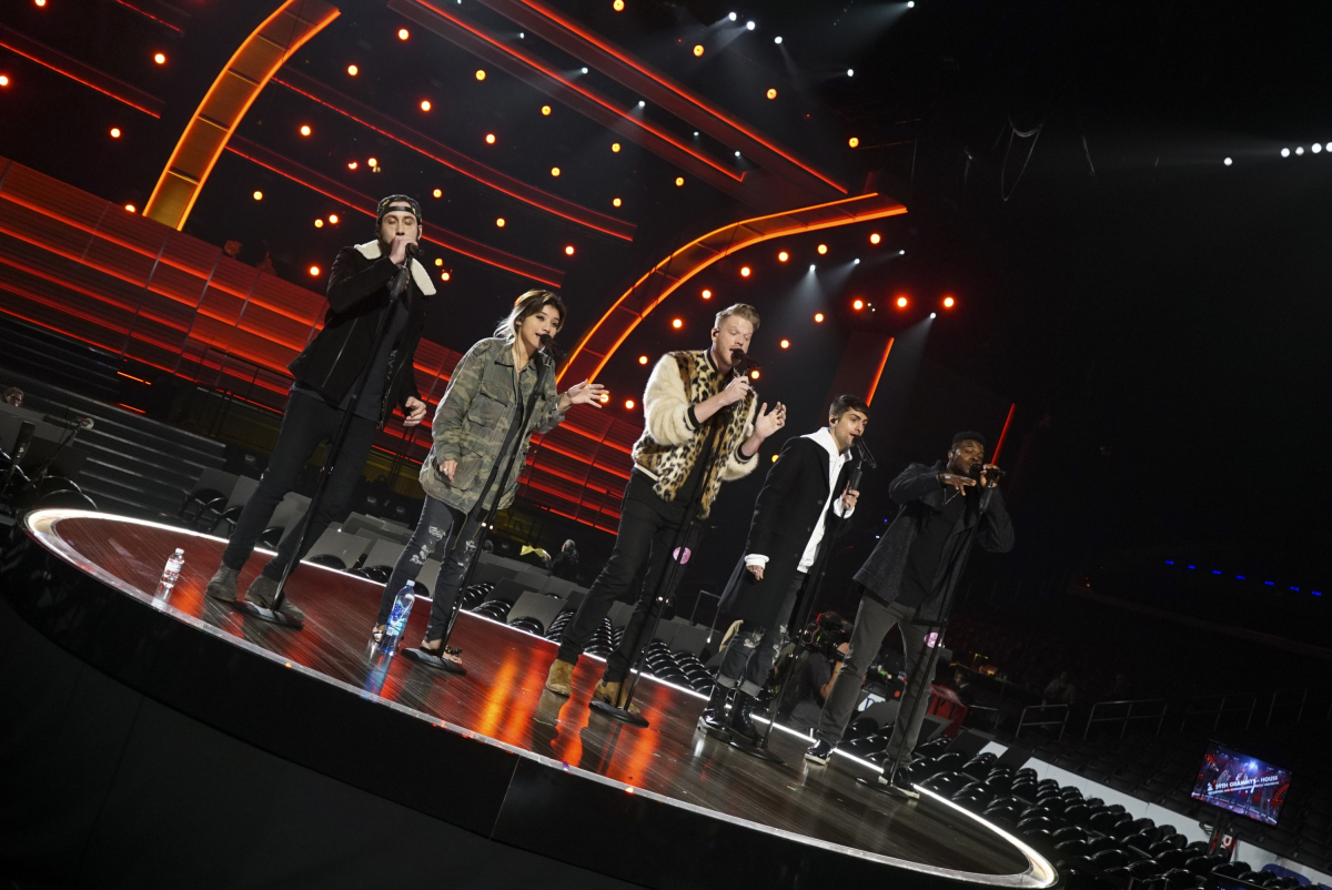 Pentatonix performs during rehearsals for THE 59TH ANNUAL GRAMMY AWARDS®, scheduled to broadcast live from the STAPLES Center in Los Angeles, Sunday, Feb. 12 (8:00-11:30 PM, live ET/5:00-8:30 PM, live PT; 6:00-9:30 PM, live MT) on the CBS Television Network. Photo: Monty Brinton/CBS ©2017 CBS Broadcasting, Inc. All Rights Reserved