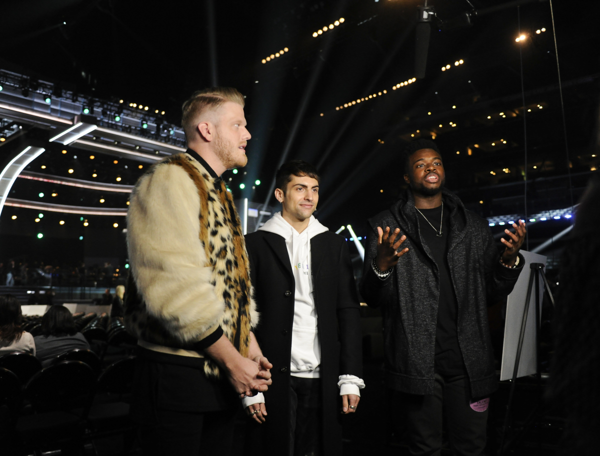 Members of Pentatonix are interviewed following rehearsals for THE 59TH ANNUAL GRAMMY AWARDS®, scheduled to broadcast live from the STAPLES Center in Los Angeles, Sunday, Feb. 12 (8:00-11:30 PM, live ET/5:00-8:30 PM, live PT; 6:00-9:30 PM, live MT) on the CBS Television Network. Photo: Johnny Vy/CBS ©2017 CBS Broadcasting, Inc. All Rights Reserved