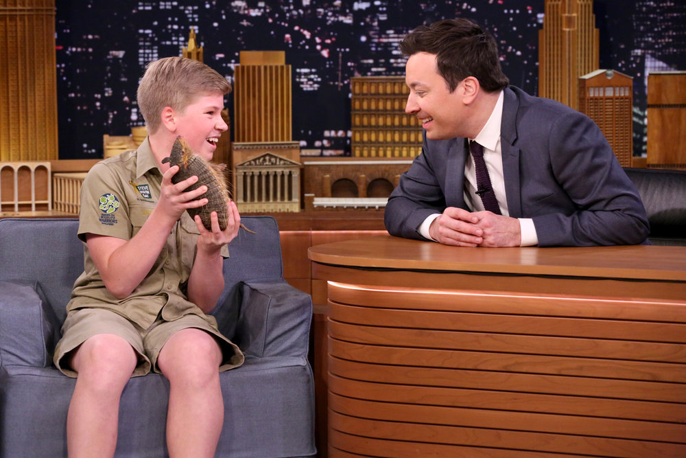 THE TONIGHT SHOW STARRING JIMMY FALLON -- Episode 0626 -- Pictured: (l-r) Animal expert Robert Irwin during an interview with host Jimmy Fallon on February 16, 2017 -- (Photo by: Andrew Lipovsky/NBC)