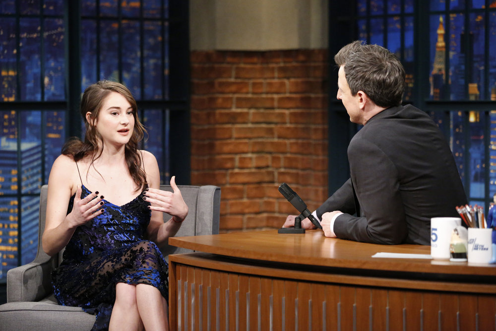 LATE NIGHT WITH SETH MEYERS -- Episode 489 -- Pictured: (l-r) Actress Shailene Woodley during an interview with host Seth Meyers on February 14, 2017 -- (Photo by: Lloyd Bishop/NBC)