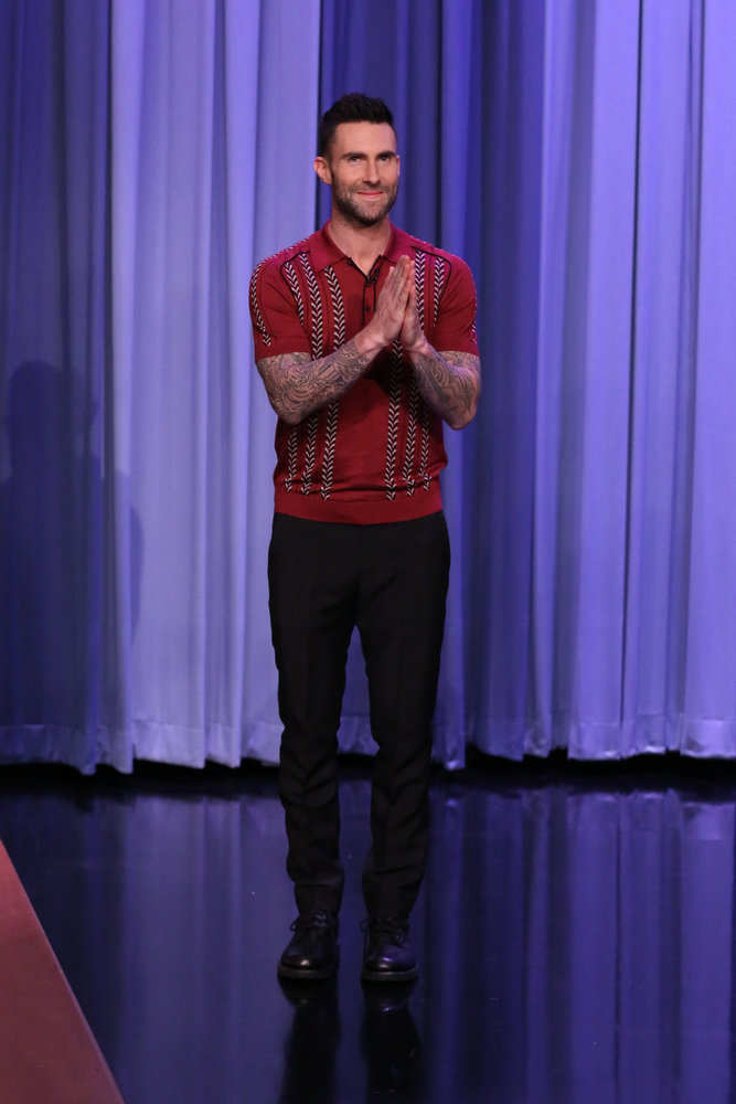 THE TONIGHT SHOW STARRING JIMMY FALLON -- Episode 639 -- Pictured: Singer Adam Levine arrives on March 14, 2017 -- (Photo by: Andrew Lipovsky/NBC)