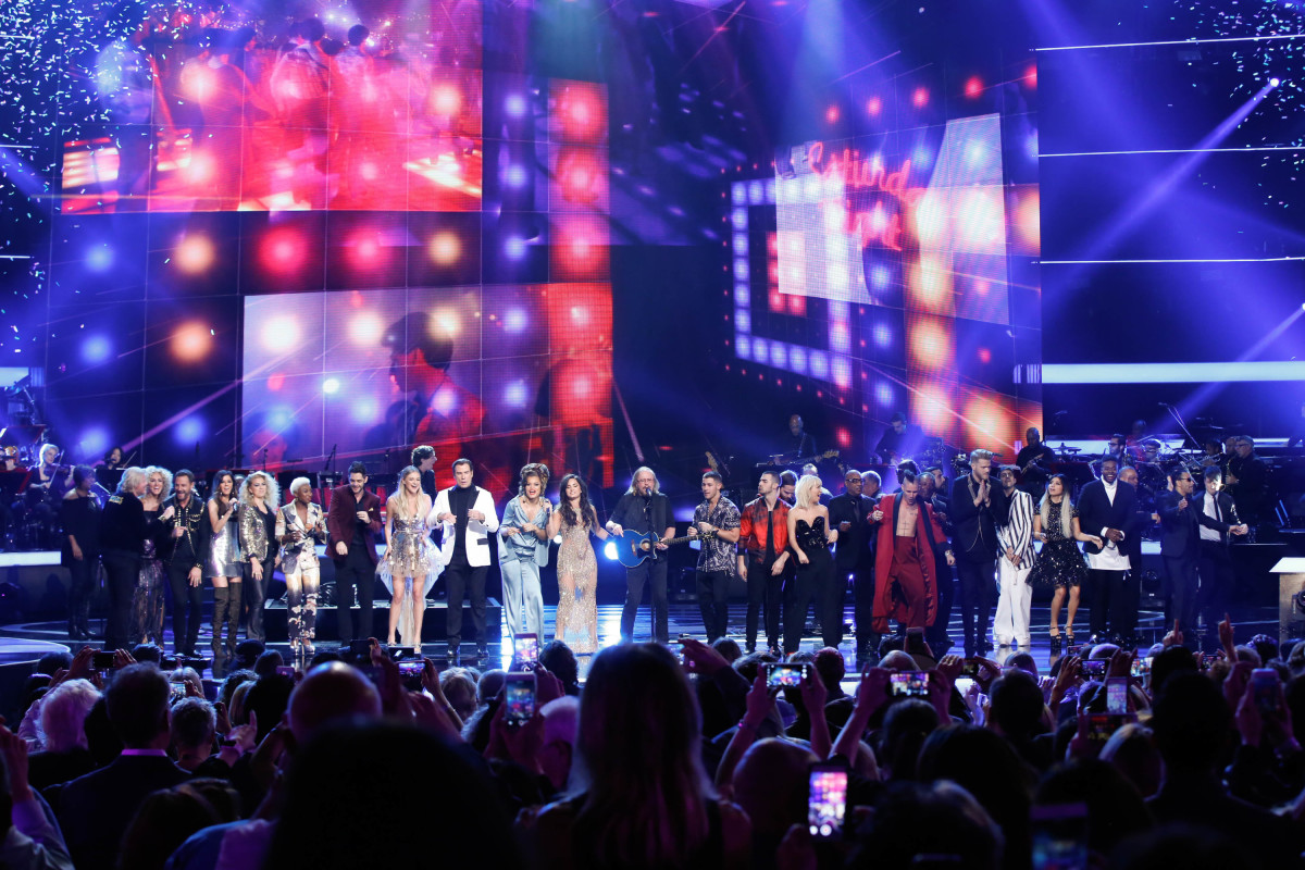 "Music stars Andra Day, Celine Dion, DNCE, Nick Jonas, Tori Kelly, Little Big Town, Demi Lovato, Katharine McPhee, Panic! at the Disco, Pentatonix, Ed Sheeran, Keith Urban, Kelsea Ballerini & Thomas Rhett, Jason Derulo & Tavares, John Legend & Stevie Wonder and Barry Gibb celebrate the Bee Gees' remarkable music catalog on, ""STAYIN' ALIVE: A GRAMMY® SALUTE TO THE MUSIC OF THE BEE GEES,"" Sunday, April, 16 (8:00-10:00 PM, ET/ PT) on the CBS Television Network. Pictured: Pentatoni, Tori Kelly, Cynthia Erivo, Thomas Rhett, Kelsea Ballerini, John Travolta, Andra Day, Demi Lovato, Barry Gibb, Nick Jonas, DNCE, and Panic! at the Disco Photo: Monty Brinton/CBS ©2017 CBS Broadcasting, Inc. All Rights Reserved"