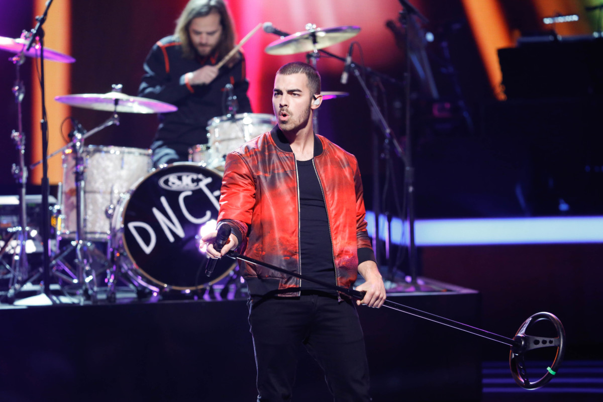 "Music stars Andra Day, Celine Dion, DNCE, Nick Jonas, Tori Kelly, Little Big Town, Demi Lovato, Katharine McPhee, Panic! at the Disco, Pentatonix, Ed Sheeran, Keith Urban, Kelsea Ballerini & Thomas Rhett, Jason Derulo & Tavares, John Legend & Stevie Wonder and Barry Gibb celebrate the Bee Gees' remarkable music catalog on, ""STAYIN' ALIVE: A GRAMMY® SALUTE TO THE MUSIC OF THE BEE GEES,"" Sunday, April, 16 (8:00-10:00 PM, ET/ PT) on the CBS Television Network. Pictured: DNCE Photo: Monty Brinton/CBS ©2017 CBS Broadcasting, Inc. All Rights Reserved"