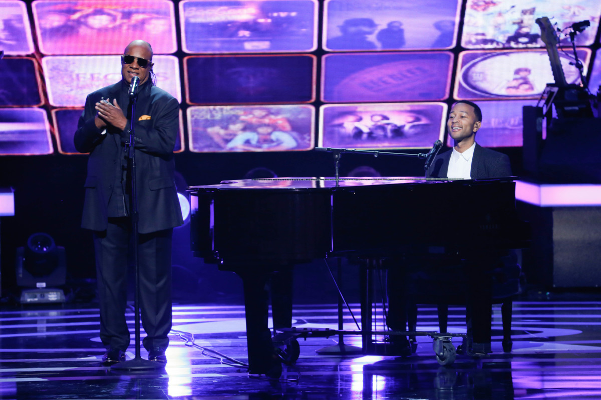 "Music stars Andra Day, Celine Dion, DNCE, Nick Jonas, Tori Kelly, Little Big Town, Demi Lovato, Katharine McPhee, Panic! at the Disco, Pentatonix, Ed Sheeran, Keith Urban, Kelsea Ballerini & Thomas Rhett, Jason Derulo & Tavares, John Legend & Stevie Wonder and Barry Gibb celebrate the Bee Gees' remarkable music catalog on, ""STAYIN' ALIVE: A GRAMMY® SALUTE TO THE MUSIC OF THE BEE GEES,"" Sunday, April, 16 (8:00-10:00 PM, ET/ PT) on the CBS Television Network. Pictured L-R: Stevie Wonder and John Legend Photo: Monty Brinton/CBS ©2017 CBS Broadcasting, Inc. All Rights Reserved"