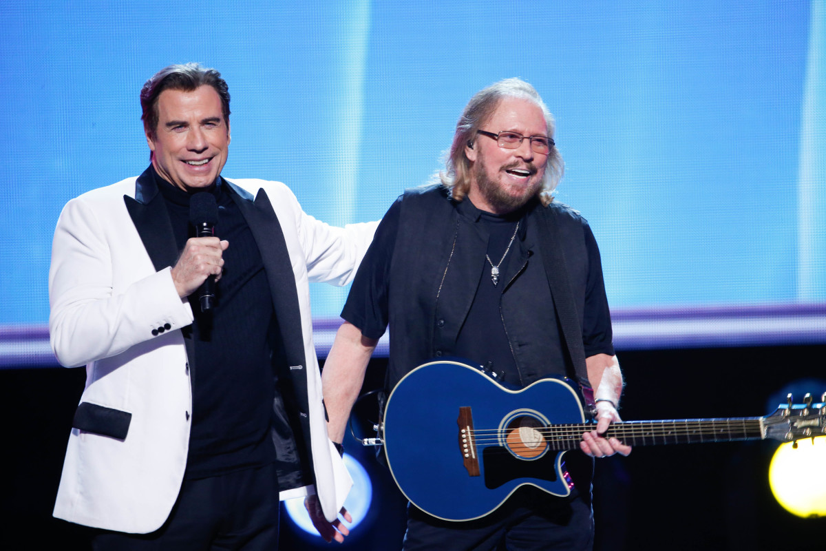 "Music stars Andra Day, Celine Dion, DNCE, Nick Jonas, Tori Kelly, Little Big Town, Demi Lovato, Katharine McPhee, Panic! at the Disco, Pentatonix, Ed Sheeran, Keith Urban, Kelsea Ballerini & Thomas Rhett, Jason Derulo & Tavares, John Legend & Stevie Wonder and Barry Gibb celebrate the Bee Gees' remarkable music catalog on, ""STAYIN' ALIVE: A GRAMMY® SALUTE TO THE MUSIC OF THE BEE GEES,"" Sunday, April, 16 (8:00-10:00 PM, ET/ PT) on the CBS Television Network. Pictured: John Travolta, Barry Gibb Photo: Monty Brinton/CBS ©2017 CBS Broadcasting, Inc. All Rights Reserved"