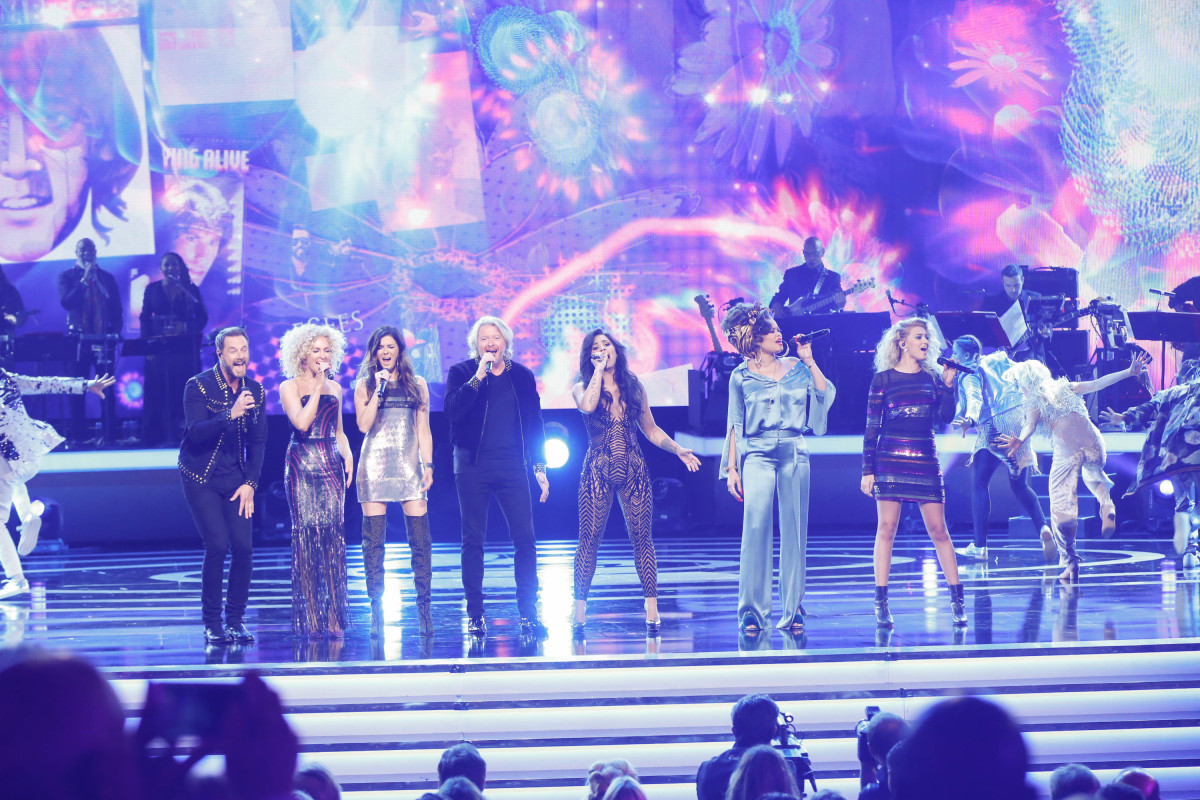 "Music stars Andra Day, Celine Dion, DNCE, Nick Jonas, Tori Kelly, Little Big Town, Demi Lovato, Katharine McPhee, Panic! at the Disco, Pentatonix, Ed Sheeran, Keith Urban, Kelsea Ballerini & Thomas Rhett, Jason Derulo & Tavares, John Legend & Stevie Wonder and Barry Gibb celebrate the Bee Gees' remarkable music catalog on, ""STAYIN' ALIVE: A GRAMMY® SALUTE TO THE MUSIC OF THE BEE GEES,"" Sunday, April, 16 (8:00-10:00 PM, ET/ PT) on the CBS Television Network. Pictured L-R: Little Big Town, Demi Lovato, Andra Day, and Tori Kelly Photo: Monty Brinton/CBS ©2017 CBS Broadcasting, Inc. All Rights Reserved"