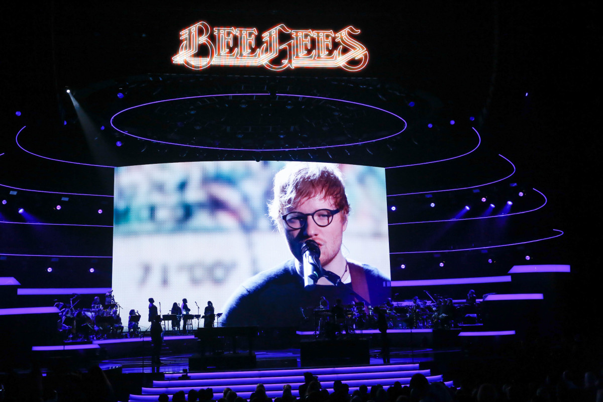"Music stars Andra Day, Celine Dion, DNCE, Nick Jonas, Tori Kelly, Little Big Town, Demi Lovato, Katharine McPhee, Panic! at the Disco, Pentatonix, Ed Sheeran, Keith Urban, Kelsea Ballerini & Thomas Rhett, Jason Derulo & Tavares, John Legend & Stevie Wonder and Barry Gibb celebrate the Bee Gees' remarkable music catalog on, ""STAYIN' ALIVE: A GRAMMY® SALUTE TO THE MUSIC OF THE BEE GEES,"" Sunday, April, 16 (8:00-10:00 PM, ET/ PT) on the CBS Television Network. Pictured: Ed Sheeran Photo: Monty Brinton/CBS ©2017 CBS Broadcasting, Inc. All Rights Reserved"