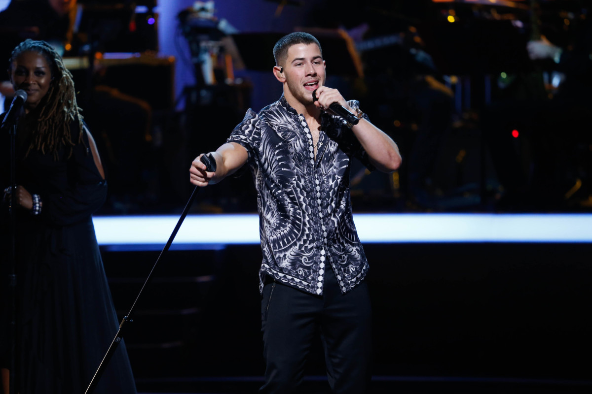 "Music stars Andra Day, Celine Dion, DNCE, Nick Jonas, Tori Kelly, Little Big Town, Demi Lovato, Katharine McPhee, Panic! at the Disco, Pentatonix, Ed Sheeran, Keith Urban, Kelsea Ballerini & Thomas Rhett, Jason Derulo & Tavares, John Legend & Stevie Wonder and Barry Gibb celebrate the Bee Gees' remarkable music catalog on, ""STAYIN' ALIVE: A GRAMMY® SALUTE TO THE MUSIC OF THE BEE GEES,"" Sunday, April, 16 (8:00-10:00 PM, ET/ PT) on the CBS Television Network. Pictured: Nick Jonas Photo: Monty Brinton/CBS ©2017 CBS Broadcasting, Inc. All Rights Reserved"