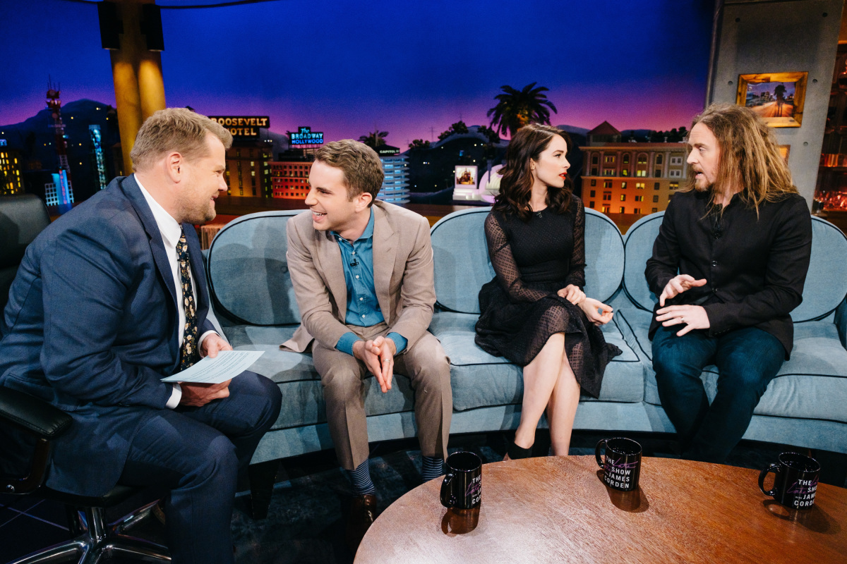 """Ben Platt, Abigail Spencer, and Tim Minchin chat with James Corden during """"The Late Late Show with James Corden,"""" Monday, March 20, 2017 (12:35 PM-1:37 AM ET/PT) On The CBS Television Network. Photo: Terence Patrick/CBS ©2017 CBS Broadcasting, Inc. All Rights Reserved"""